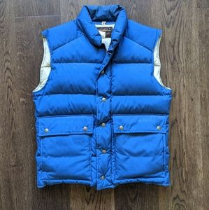 Eddie Bauer Men's Down Vest Blue Large Button